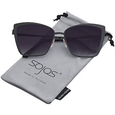 SOJOS Damen Sonnenbrille Neue Modell Metall Flach Linsen Groß SJ1082 mit Silber Rahmen/Blau verpiegelte Linse tp4ot