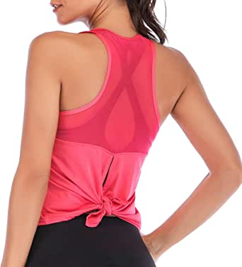 DREAM SLIM Tie Back Tank Tops for Women Cute Crop Mesh Sleeveless Racerback Yoga Shirts
