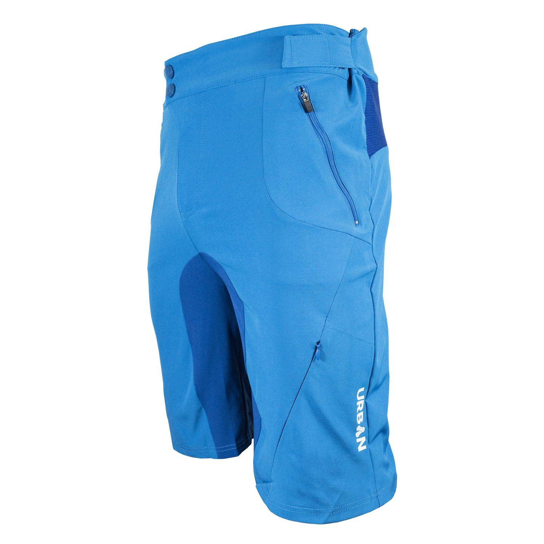Urban Cycling Apparel Flex MTB Trail Shorts - Flex Soft Shell Mountain Bike Shorts with Zip Pockets and Vents (Medium, Blue, No Liner)