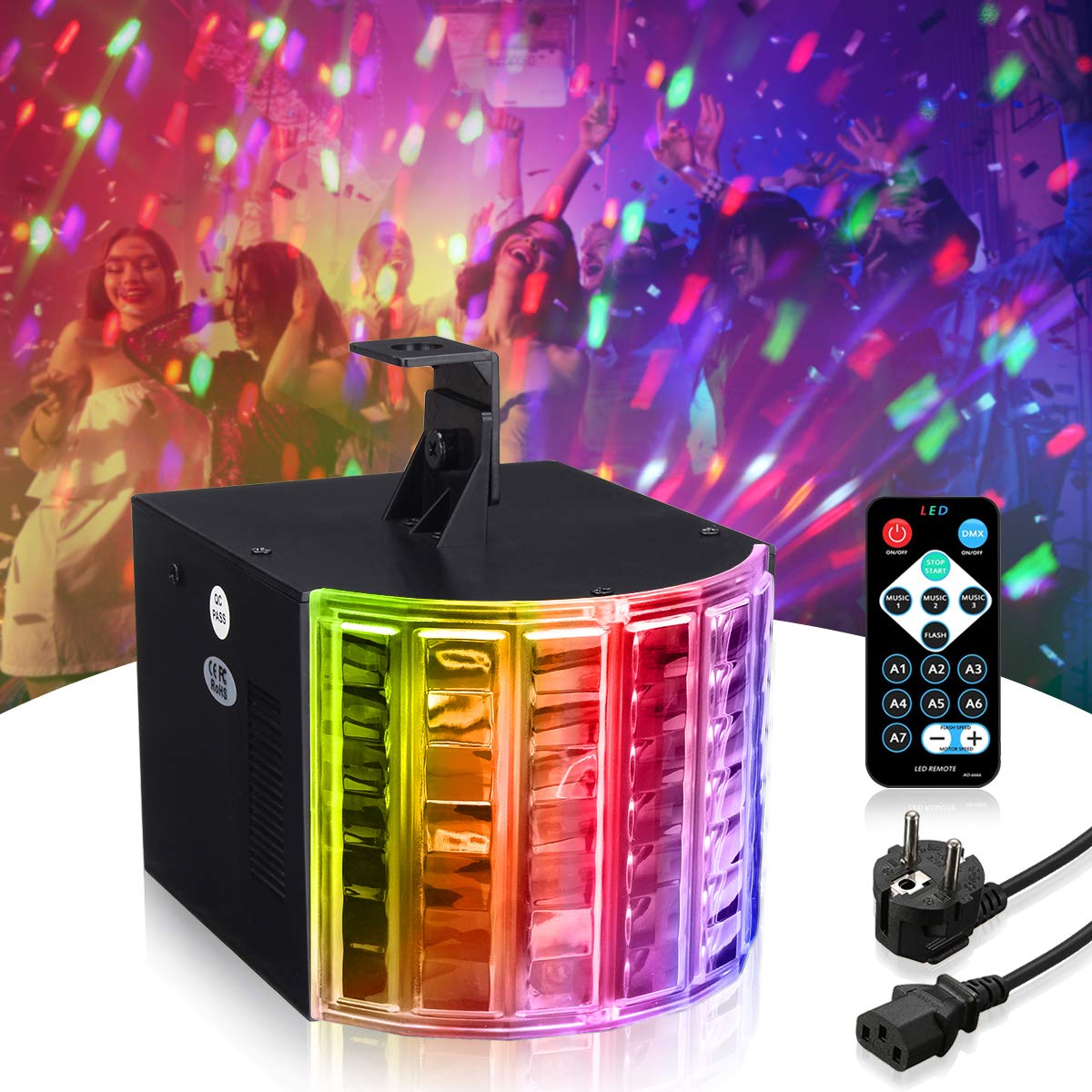 DJ Lights, SOLMORE Party Lights DMX512 Sound Actived Stage Disco Lights with Remote Control for Dance Parties Bar Karaoke Xmas Wedding Show Club 18W by SOLMORE (Image #6)