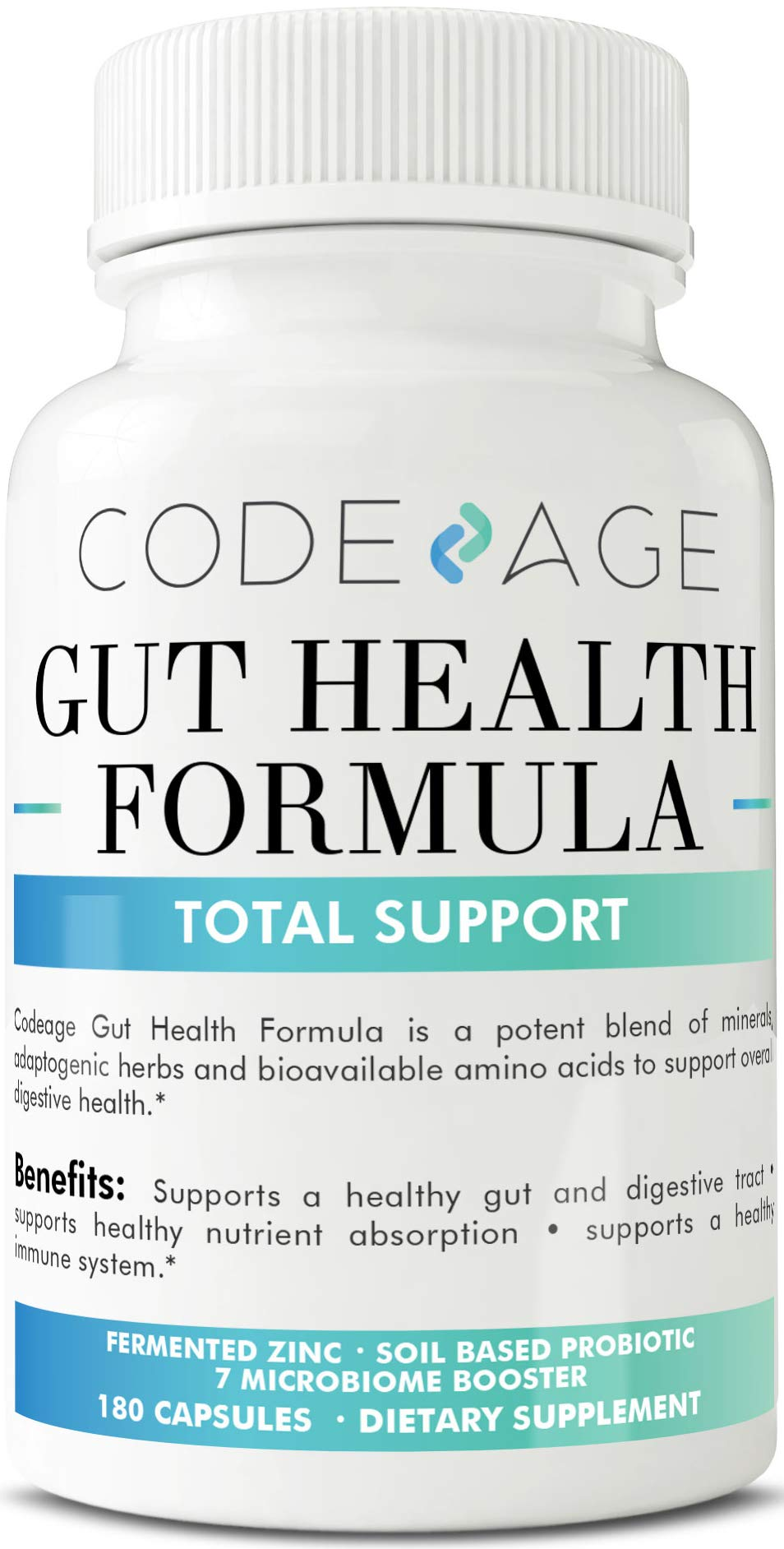 Codeage Leaky Gut Formula Supplements, Integrity Blend of L Glutamine, Licorice Root DGL, SBO Probiotics and Prebiotics 10 Billion CFUs Per Serving, 180 Capsules by Codeage