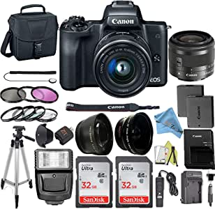 Canon EOS M50 Mirrorless Camera Kit with 15-45mm Lens + 2pc SanDisk 32GB Memory Cards + Accessory Kit