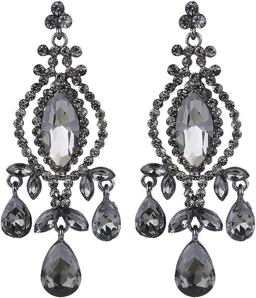 Austrian Crystal Vintage Style Teardrop Dangle Chandelier Earrings