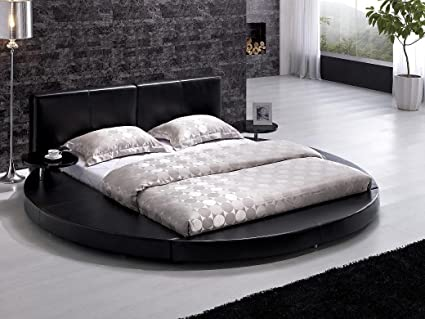 Amazon.com - TOS-T009-BLK-Q-Modern Black Leather Headboard Round Bed ...