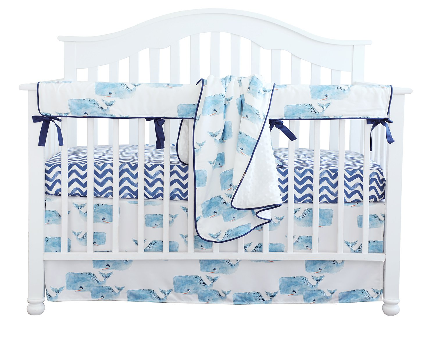 Baby Boy Crib Bedding Set Whale Nursery Crib Skirt Set Minky Blanket Navy Crib Sheet Crib Rail Bedding Set 4 pieces set (4 pieces set)