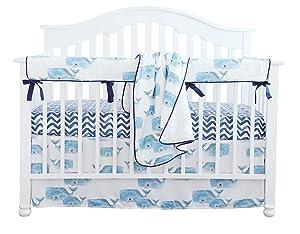 Baby Boy Crib Bedding Set Whale Nursery Crib Skirt Set Minky Blanket Navy Crib Sheet Crib Rail Bedding Set 4 pieces set (4 pieces set)