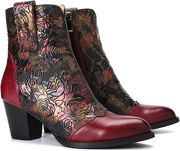 Camfosy Women Leather Ankle Boots