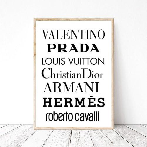 48ace43c055110 Bild Din A4 Luxusmarken Valentino Prada Vuitton Dior Armani Tyopographie  Logo Kunstdruck