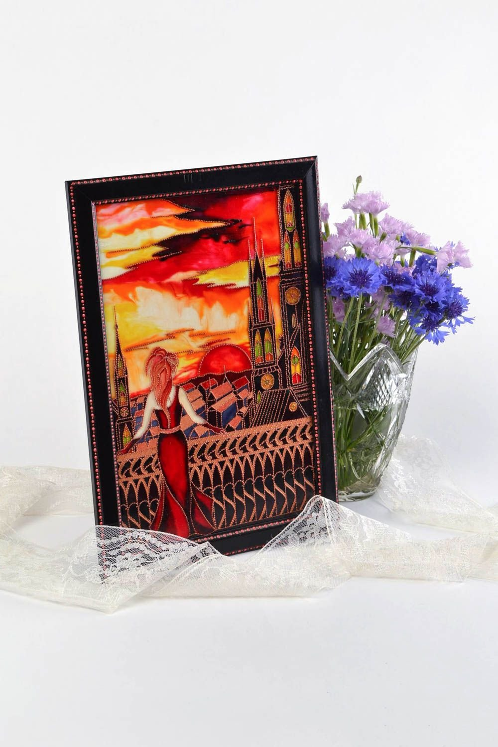 Beautiful Handmade Designer Stained Glass Wall Panel In Frame