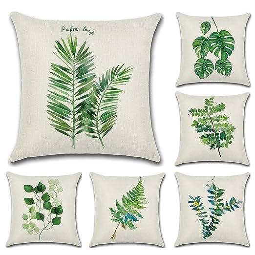 HuifengS - Fundas de cojín de lino, cuadradas, funda de almohada tropical, lluvia, bosque, planta, botella decorativa para sofás, camas, sillas, ...