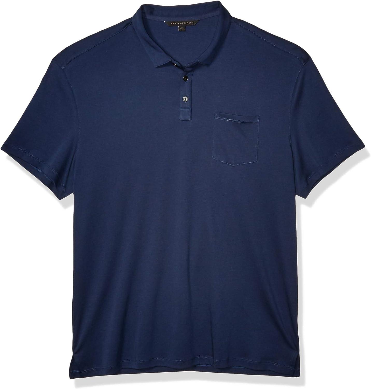John Varvatos Star USA Men's Burlington Ss Classic Fit Cotton Interlock Polo