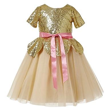 3ccd64dec55 princhar Girl s Gold Sequin Short Sleeve Flower Girl Dress Kids Girls for  Wedding US 2T