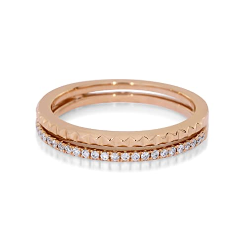 Noam Anillo de matrimonio de oro rosa 18 ct con diamantes y brillantes mitad eternidad: Amazon.es: Joyería