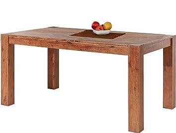 Loft24 Mono Esstisch 160x90 Cm Esszimmertisch Küchentisch Tisch Holztisch  Landhaus Akazie Massivholz Braun Gebürstet