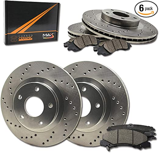Max Brakes Premium XD Rotors with Carbon Ceramic Pads and Hardware Kit KH032921 Front