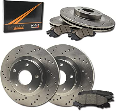 Front Kit Drill Slot Brake Rotors /& Carbon Ceramic Pads For Chevy GMC