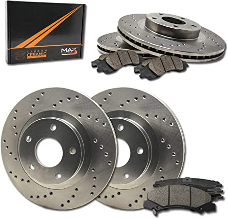 Max Brakes Rear Premium XD Rotors and Ceramic Pads Brake Kit KT090222-13