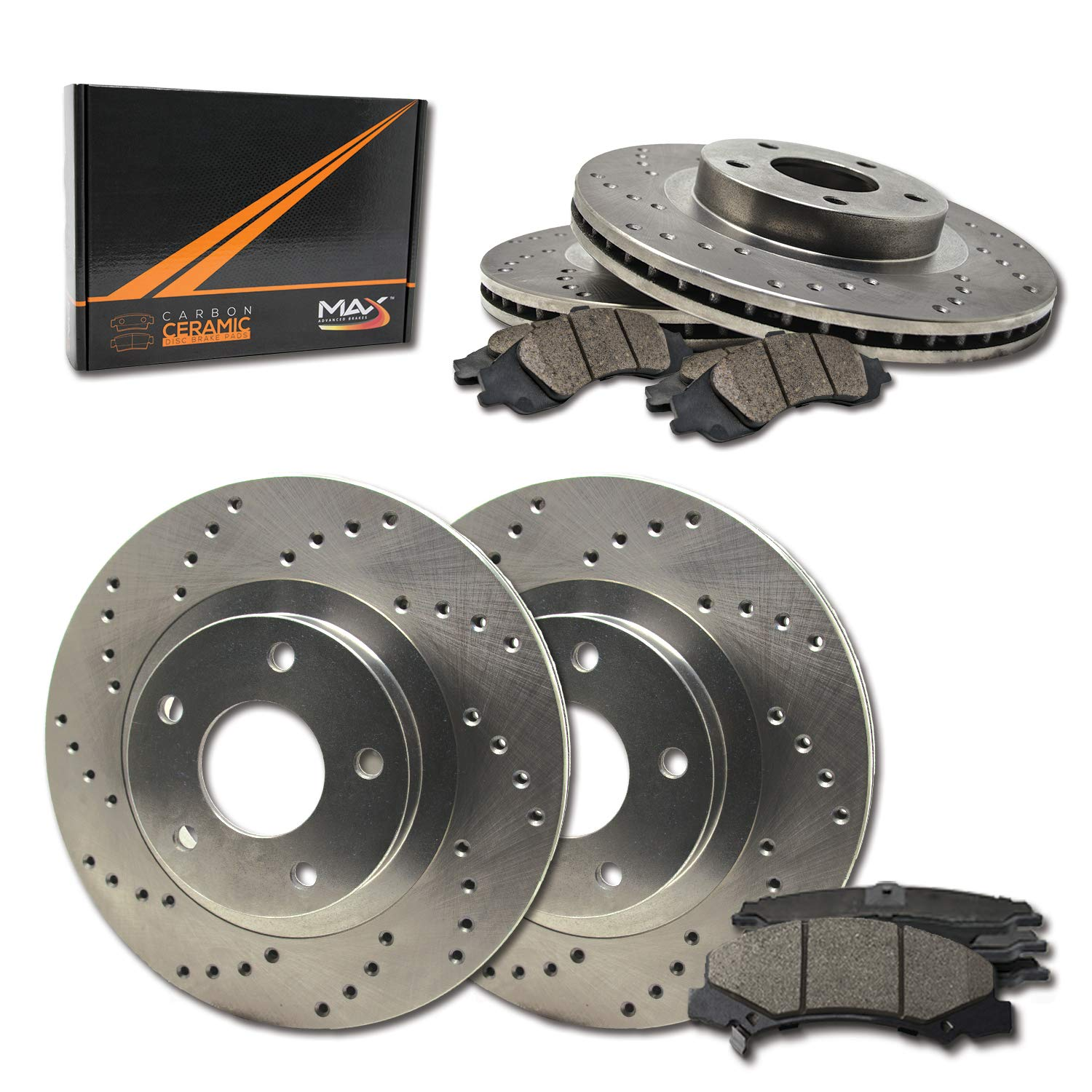 2007-2013 Nissan Altima KT041923 Fits Max Brakes Front /& Rear Performance Brake Kit Premium Cross Drilled Rotors + Ceramic Pads