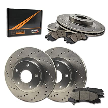 Cross Drilled Rotors >> Max Brakes Front Rear Performance Brake Kit Premium Cross Drilled Rotors Ceramic Pads Kt009223 Fits Infiniti Ex35 G25 G35 G37 M35 M45