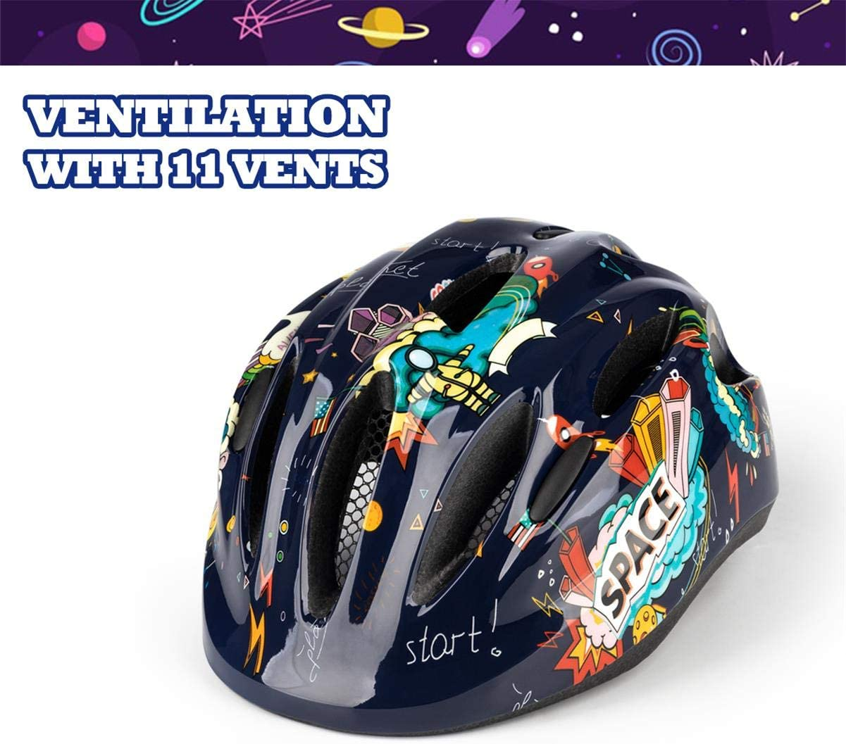 Helmet for Kids Boys Girls Child Ages 3-8 Adjustable with Taillight CPSC Scooter Bicycle 2 Sizes SUNRIMOON Toddler Bike Helmets