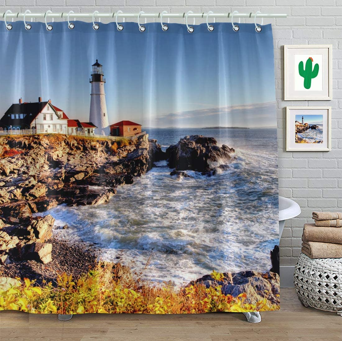 FAITOVE Portland Lighthouse Shower Curtain Sets Blue Sea Autumn 72