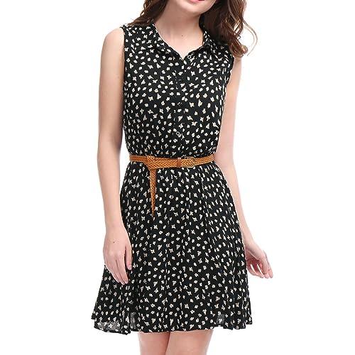 Allegra K Ladies Half Placket Above Knee Office Printed Belted Sleeveless Dress