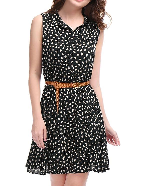 Allegra K Women's Daisy Print Half Button Placket Belted Shirt Dress Black S