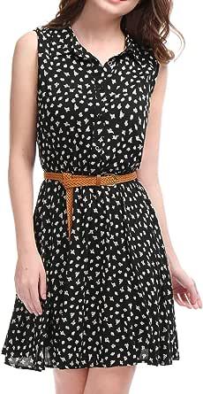 Allegra K Women's Half Placket Above Knee Printed Belted Sleeveless Dress