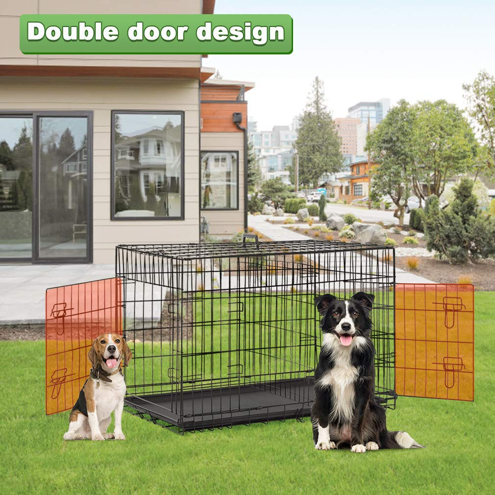 BestPet Large Dog Crate Cage Metal Wire Kennel Double-Door Folding Pet Animal Pet Cage with Plastic Tray and Handle,48'' by BestPet (Image #5)