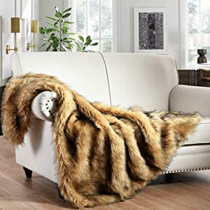Luxury Plush Faux Fur Throw Blanket, Long Pile Golden Yellow with Black Tipped Blanket, Super Warm, Fuzzy, Elegant, Fluffy Decoration Blanket Scarf for Sofa, Armchair, Couch and Bed, 60''x 80''