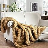 Luxury Plush Faux Fur Throw Blanket, Long Pile Golden Yellow with Black Tipped Blanket, Super Warm, Fuzzy, Elegant, Fluffy De