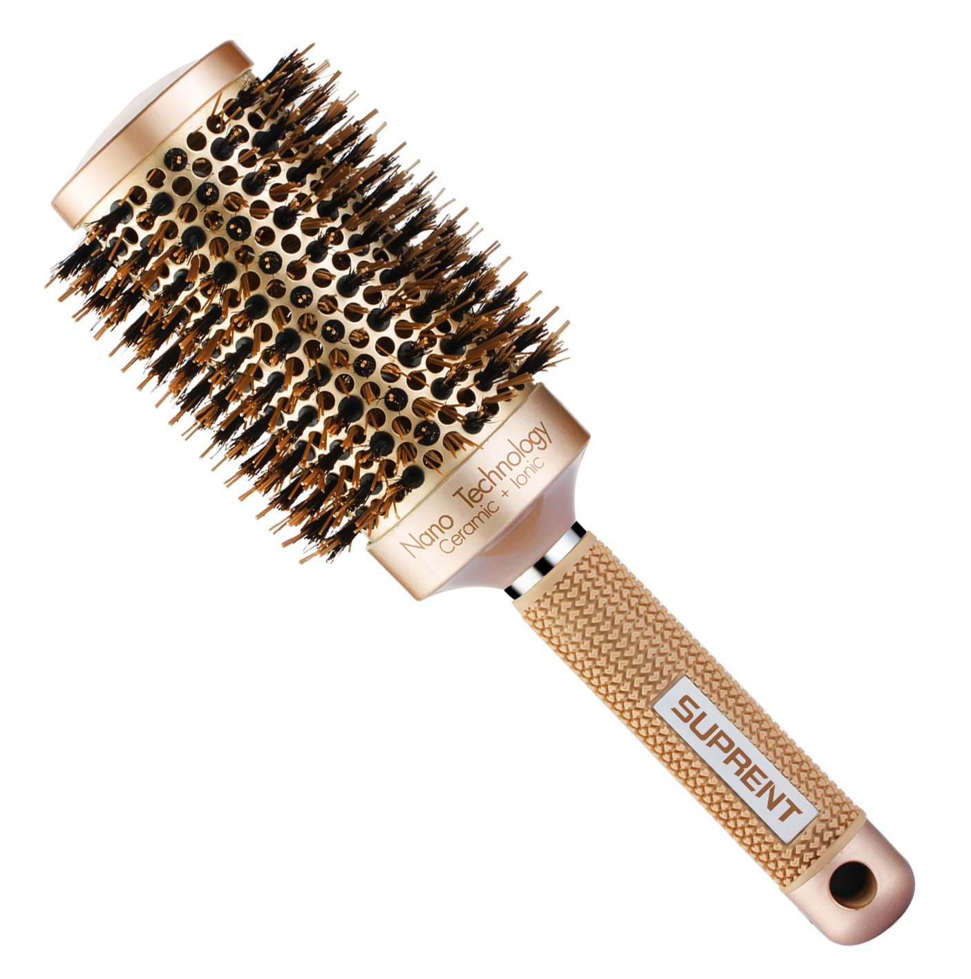 SUPRENT Nano Thermal Ceramic & Ionic Round Barrel Hair Brush with Boar Bristle, 2 inch, for Hair Drying, Styling, Curling, Adding Hair Volume and Shine, Gold Color(2 inch)