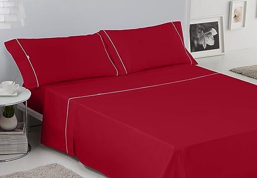 ES-TELA - Juego de sábanas LISOS BIÉS color Burdeos (4 piezas ...