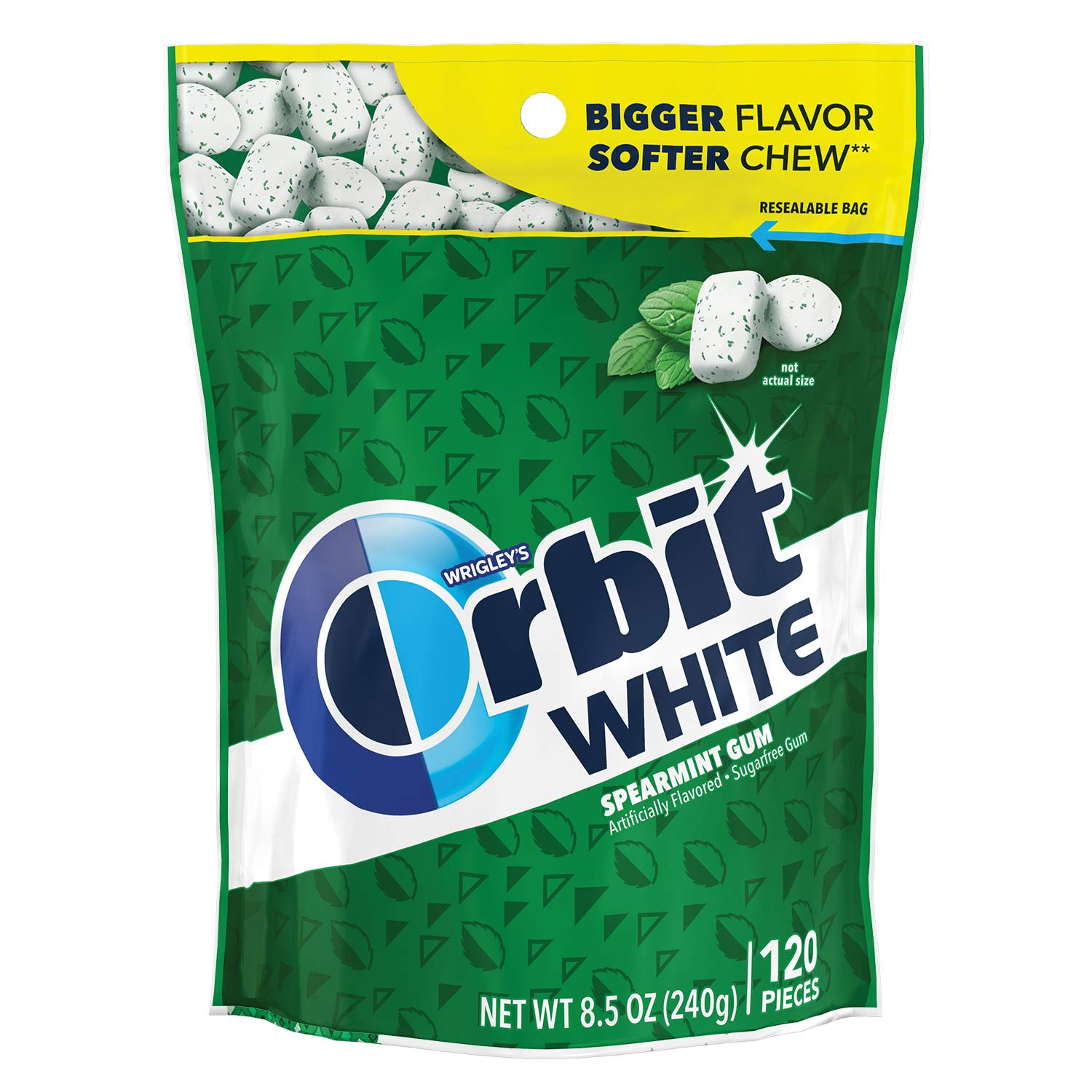 ORBIT Gum WHITE Spearmint Sugarfree Chewing Gum, 8.5 Ounces Resealable Bag, 120 Pieces (Pack of 8)
