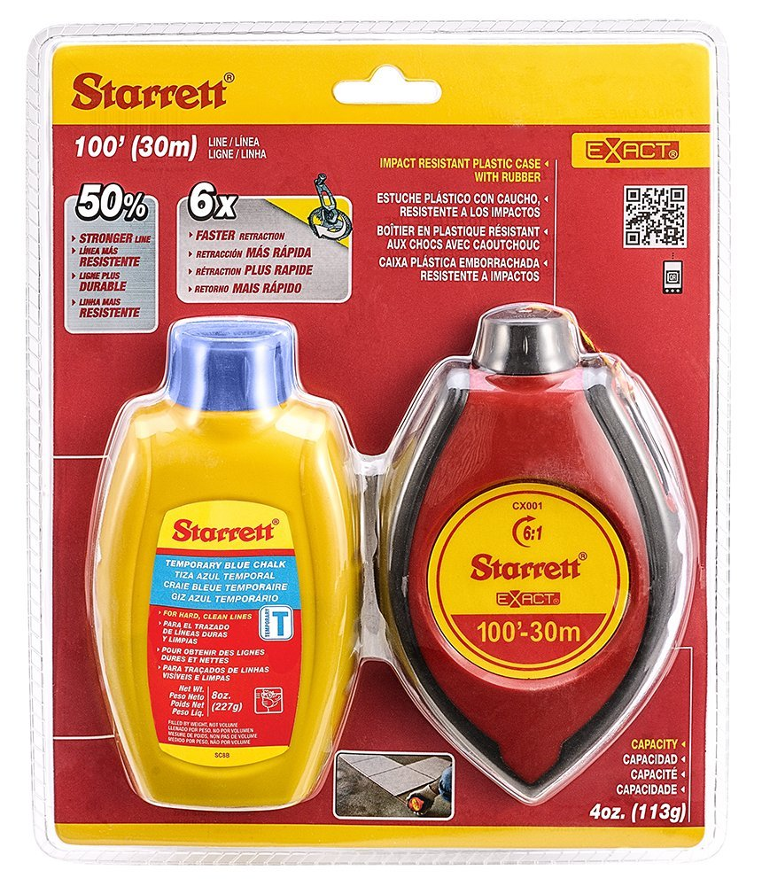 Starrett EXACT 4 oz. ABS water resistant with rubber grips Chalk Box with Blue Chalk