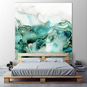 Giant Art Mint Bubbles I Huge Contemporary Abstract Giclee Canvas Print for Office Home Wall Decor Stretcher, 72 x 72