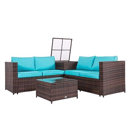 Admirable Peach Tree 4Pcs Outdoor Rattan Wicker Patio Sofas Blue Cushion Seat Set Furniture Lawn Storage Table Machost Co Dining Chair Design Ideas Machostcouk