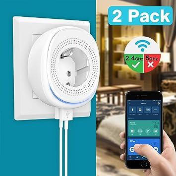 MoKo WiFi Enchufe Inteligente con 2 Puerto USB y Luz LED,Smart Plug del Zócalo del Interruptor Funciona con Alexa Echo SmartThings Google Home, App Control Remoto y Función de Temporizador -2 Pack: