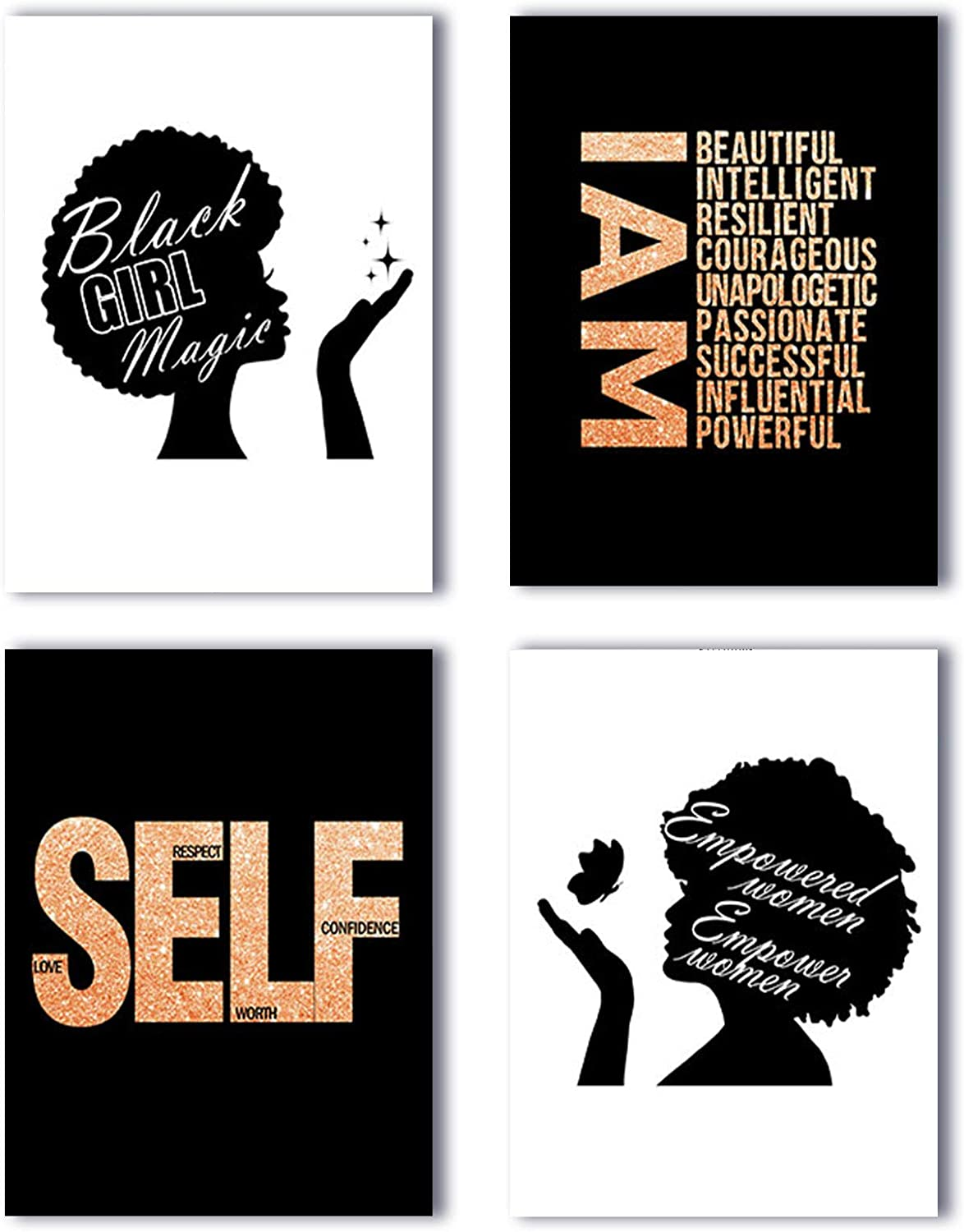 """Modern Aesthetic Inspirational Quotes Black African Woman Girl Wall Art Poster Prints Set of 4 (8""""X10"""" Canvas Picture) Girls Women Bedroom Bathroom Spa Living Room Home Decor Unframed"""