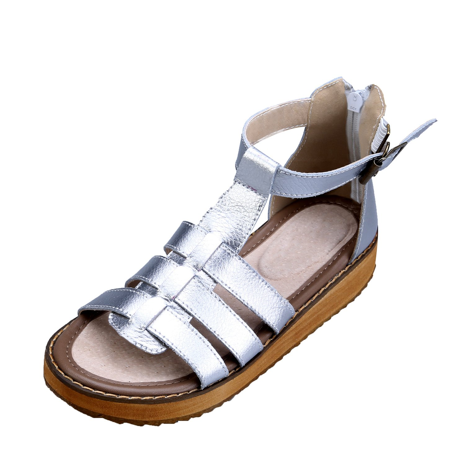 Smilun Girl's Fashion Strappy Roman Sandals Wedge Sandals Flip Flops Thongs Open Toe Sandals Flip Flops Roman Sandal Summer Sandals Silver US6