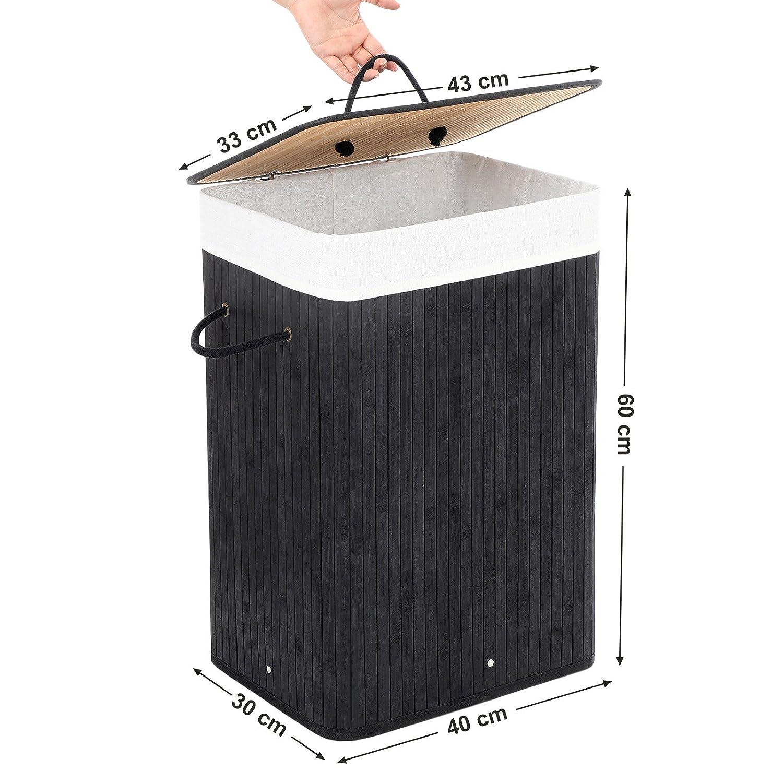 Forma Rectangular Negro LCB10B Cubo para Ropa Sucia 40 x 30 x 60 cm SONGMICS Cesto para la Colada Capacidad de 72 L