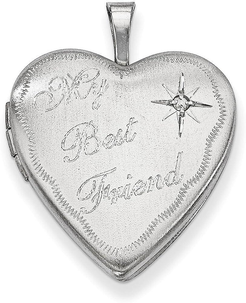 .925 Sterling Silver Best Friend with Genuine Diamond Heart Locket Charm Pendant