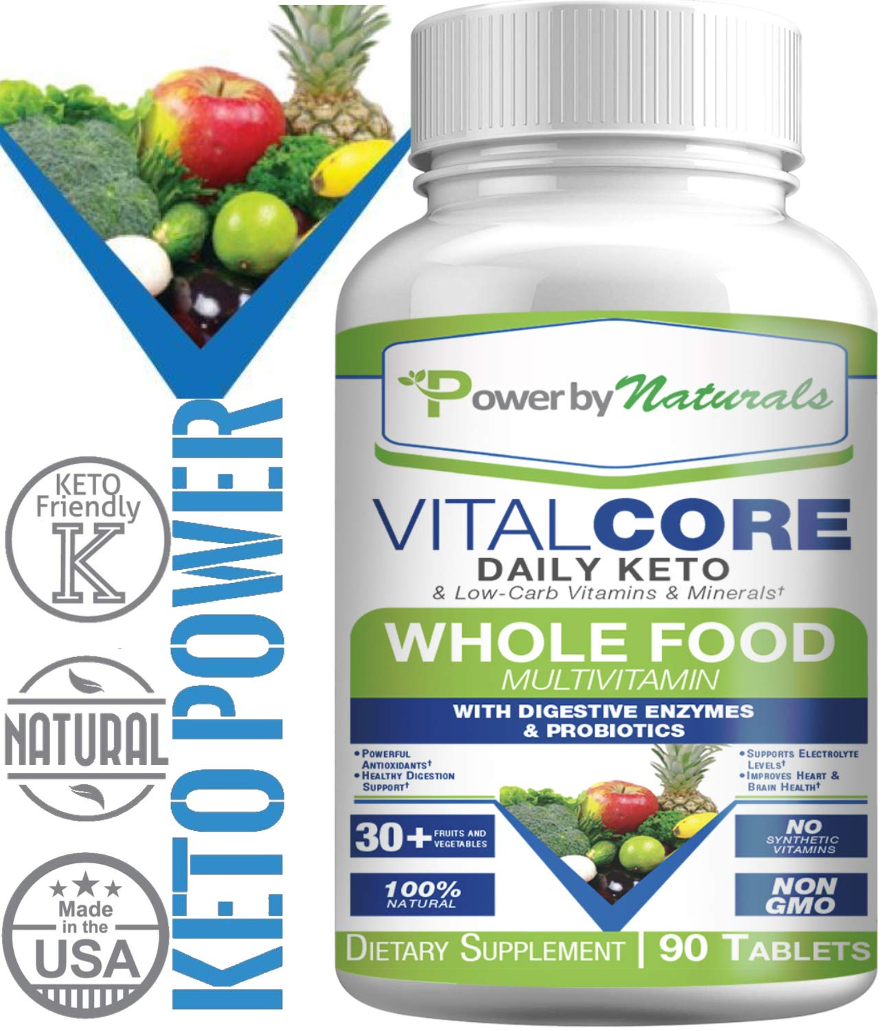 PbyN - Keto Vital Core - Daily WholeFood Keto Multivitamin with Minerals, Electrolytes, Digestive Enzyme and Probiotics, Multi Supplement for Low-Carb, Atkin, Paleo, Ketogenic Weight Loss Diets 90 ct by Power By Naturals