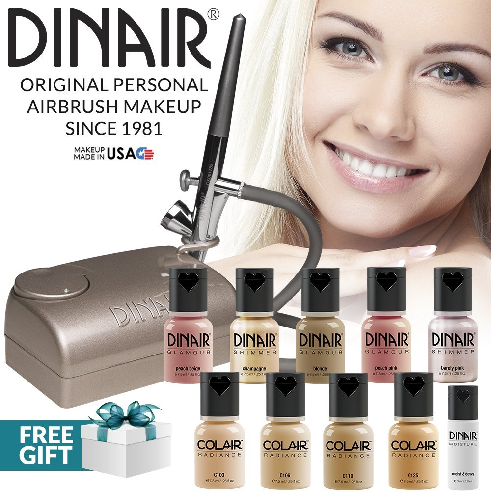 Dinair Airbrush Makeup Professional Natural Look Summer Kit | FAIR Shades | 10pc Make-up Set | Multi-Purpose for Foundation, Blush, Shimmer, Concealer, Eyeliner | Plus Shadow/Brow Stencils