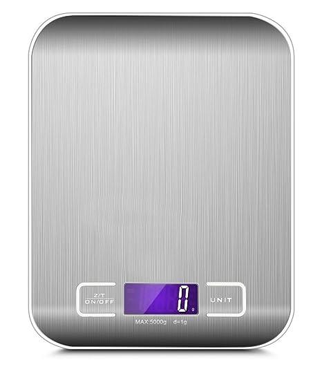 Báscula digital multifunción para cocina, acero inoxidable, 5000 g, 1 g, plataforma