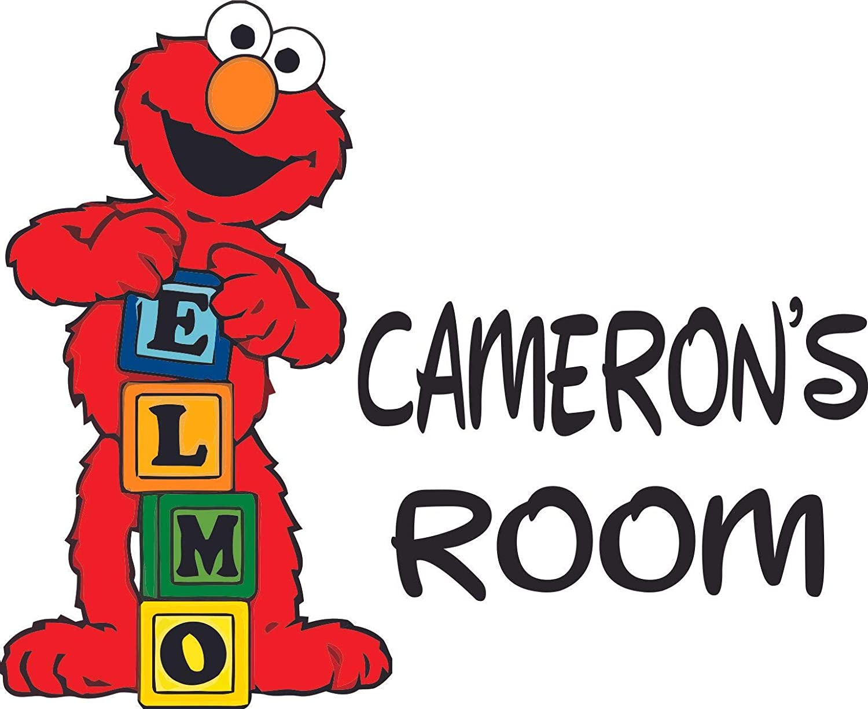 Elmo Play Blocks Cartoon Sesame Street Customized Wall Decal - Custom Vinyl Wall Art - Personalized Name - Baby Girls Boys Kids Bedroom Wall Decal Room Decor Wall Stickers Decoration Size (12x20 inch)