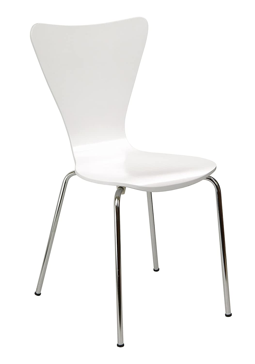 Legaré Furniture Modern Ergonomic Bent Plywood Chair for The Home, Office, or Work Space, White