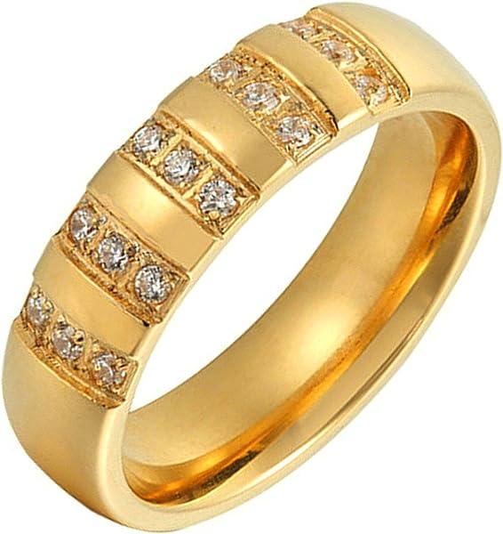 Adisaer – acero inoxidable anillos anillos de boda compromiso circonita forma redonda oro tamaño 7