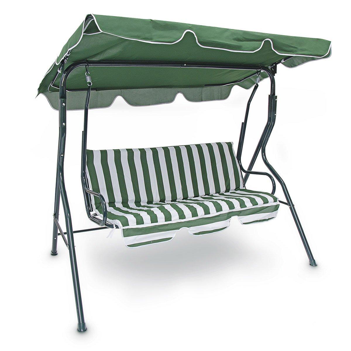 Relaxdays 10018873 Hollywoodschaukel 3-Sitzer gepolsterte Auflage, schwenkbares Sonnendach, grün / weiß