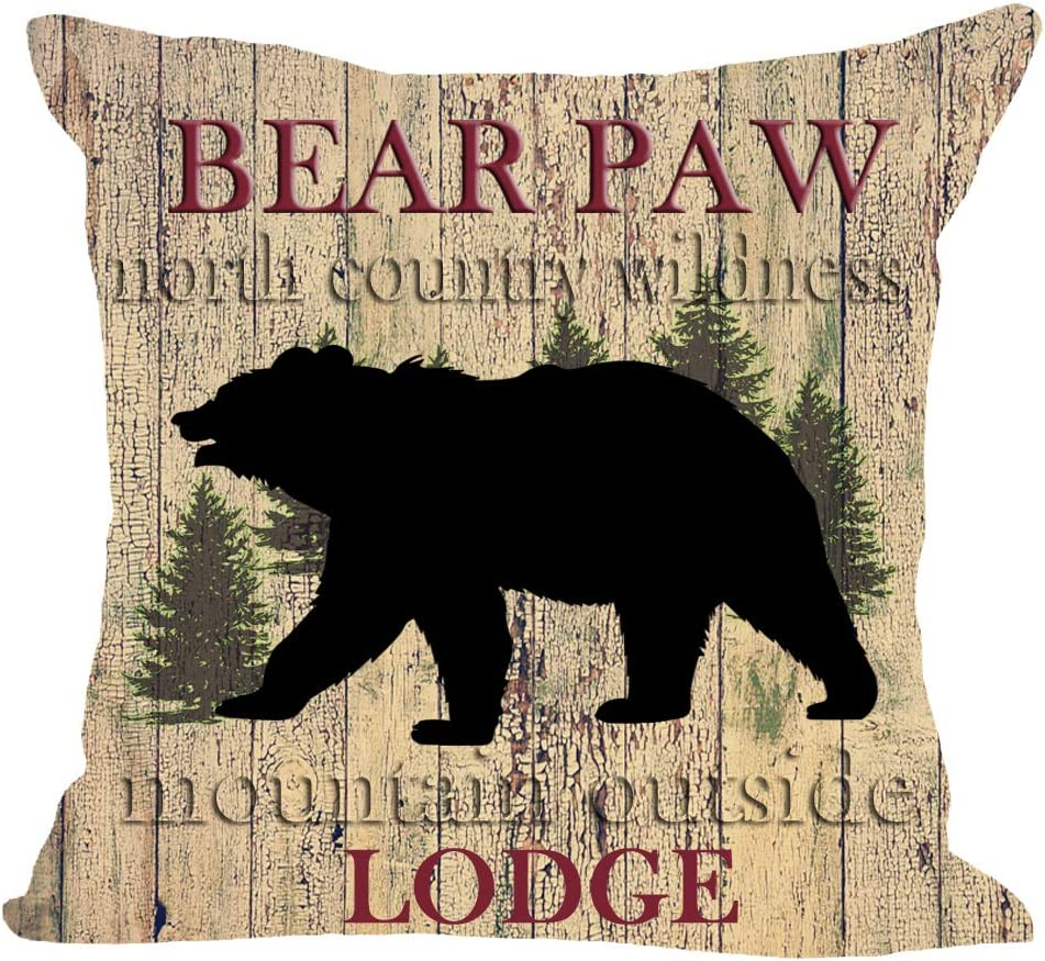 """Wild Animal Black Bear Paws Lodge Forest Tree North Country Wildness Mountain Outside Cotton Linen Square Throw Waist Pillow Case Decorative Cushion Cover Pillowcase Sofa 18""""x 18"""""""